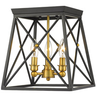 Trestle 3 Light 11 inch Matte Black and Olde Brass Flush Mount Ceiling Light