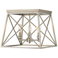 Trestle 3 Light 14 inch Antique Silver Flush Mount Ceiling Light