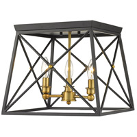 Z-Lite 447F14-MB-OBR Trestle 3 Light 14 inch Matte Black and Olde Brass Flush Mount Ceiling Light