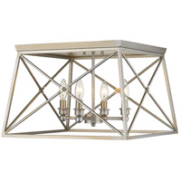 Trestle 4 Light 18 inch Antique Silver Flush Mount Ceiling Light