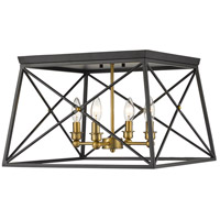 Trestle 4 Light 18 inch Matte Black and Olde Brass Flush Mount Ceiling Light