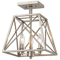 Z-Lite 447SF-AS Trestle 3 Light 11 inch Antique Silver Semi Flush Mount Ceiling Light