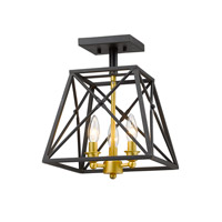 Z-Lite 447SF-BZGD Tressle 3 Light 11 inch Bronze Gold Semi Flush Mount Ceiling Light