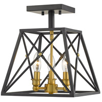 Trestle 3 Light 11 inch Matte Black and Olde Brass Semi Flush Mount Ceiling Light