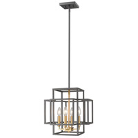 Z-Lite 454-14BRZ-OBR Titania 4 Light 14 inch Bronze and Olde Brass Pendant Ceiling Light