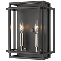Titania 2 Light 10 inch Black and Brushed Nickel Wall Sconce Wall Light