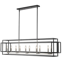 Titania 10 Light 54 inch Black and Brushed Nickel Island Light Ceiling Light