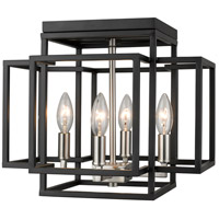 Titania 4 Light 14 inch Black and Brushed Nickel Flush Mount Ceiling Light