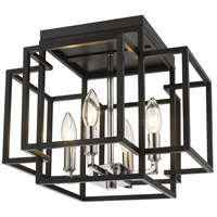 Z-Lite 454F-BK-CH Titania 4 Light 14 inch Black and Chrome Flush Mount Ceiling Light in 5.5
