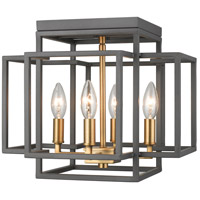 Titania 4 Light 14 inch Bronze and Olde Brass Flush Mount Ceiling Light