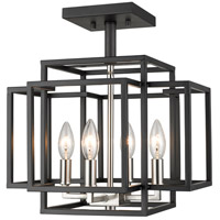 Titania 4 Light 14 inch Black and Brushed Nickel Semi Flush Mount Ceiling Light