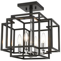 Titania 4 Light 14 inch Black and Chrome Semi Flush Mount Ceiling Light