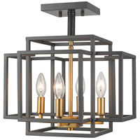 Z-Lite 454SF-BRZ-OBR Titania 4 Light 14 inch Bronze and Olde Brass Semi Flush Mount Ceiling Light