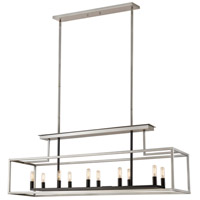Z-Lite 456-10L-BN-BK Quadra 10 Light 50 inch Brushed Nickel and Black Island/Billiard Ceiling Light