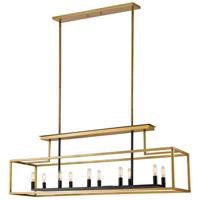 Z-Lite 456-10L-OBR-BRZ Quadra 10 Light 50 inch Olde Brass and Bronze Island/Billiard Ceiling Light