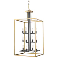 Z-Lite 456-12OBR-BRZ Quadra 12 Light 22 inch Olde Brass and Bronze Chandelier Ceiling Light