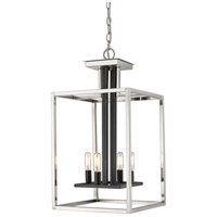 Z-Lite 456-4BN-BK Quadra 4 Light 13 inch Brushed Nickel and Black Chandelier Ceiling Light