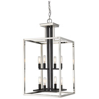 Z-Lite 456-8BN-BK Quadra 8 Light 15 inch Brushed Nickel and Black Chandelier Ceiling Light
