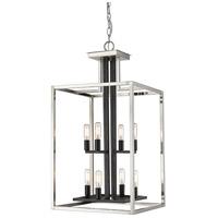 Z-Lite 456-8BN-BK Quadra 8 Light 15 inch Brushed Nickel and Black Chandelier Ceiling Light