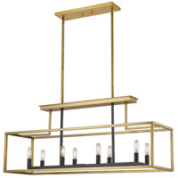 Z-Lite 456-8L-OBR-BRZ Quadra 8 Light 40 inch Olde Brass and Bronze Island/Billiard Ceiling Light