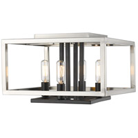 Quadra 4 Light 13 inch Brushed Nickel and Black Flush Mount Ceiling Light