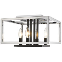 Quadra 4 Light 13 inch Chrome and Black Flush Mount Ceiling Light