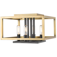 Z-Lite 456F-OBR-BRZ Quadra 4 Light 13 inch Olde Brass and Bronze Flush Mount Ceiling Light