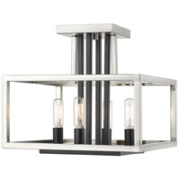 Z-Lite 456SF-BN-BK Quadra 4 Light 12 inch Brushed Nickel and Black Semi Flush Mount Ceiling Light