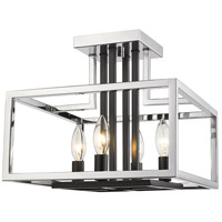 Z-Lite 456SF-CH-BK Quadra 4 Light 13 inch Chrome and Black Semi Flush Mount Ceiling Light