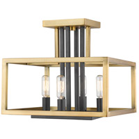 Z-Lite 456SF-OBR-BRZ Quadra 4 Light 12 inch Olde Brass and Bronze Semi Flush Mount Ceiling Light
