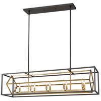 Z-Lite 457-10L-OBR-BRZ Euclid 10 Light 56 inch Olde Brass and Bronze Island/Billiard Ceiling Light