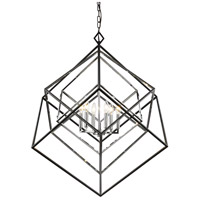 Z-Lite 457-6CH-MB Euclid 6 Light 36 inch Chrome and Matte Black Chandelier Ceiling Light photo thumbnail