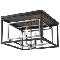 Euclid 4 Light 15 inch Chrome and Matte Black Flush Mount Ceiling Light
