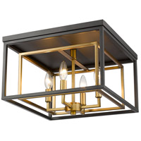 Euclid 4 Light 15 inch Olde Brass and Bronze Flush Mount Ceiling Light
