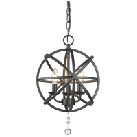 Z-Lite 458-12MB Tull 3 Light 12 inch Matte Black Chandelier Ceiling Light