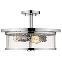 Z-Lite 462SF16-CH Savannah 3 Light 16 inch Chrome Semi Flush Mount Ceiling Light