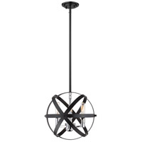 Z-Lite 463-12HBK-CH Cavallo 3 Light 12 inch Hammered Black and Chrome Pendant Ceiling Light