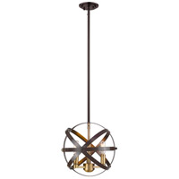 Z-Lite 463-12HBRZ-OBR Cavallo 3 Light 12 inch Hammered Bronze and Olde Brass Pendant Ceiling Light