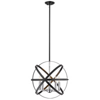 Z-Lite 463-18HBK-CH Cavallo 5 Light 18 inch Hammered Black and Chrome Pendant Ceiling Light