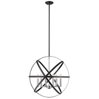 Z-Lite 463-24HBK-CH Cavallo 6 Light 24 inch Hammered Black and Chrome Pendant Ceiling Light
