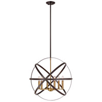 Z-Lite 463-24HBRZ-OBR Cavallo 6 Light 24 inch Hammered Bronze and Olde Brass Pendant Ceiling Light