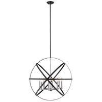 Z-Lite 463-30HBK-CH Cavallo 8 Light 30 inch Hammered Black and Chrome Pendant Ceiling Light
