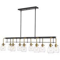 Z-Lite 466-10L-MB-OBR Kraken 10 Light 56 inch Matte Black and Olde Brass Island/Billiard Ceiling Light