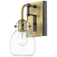 Z-Lite 466-1S-MB-OBR Kraken 1 Light 5 inch Matte Black and Olde Brass Wall Sconce Wall Light