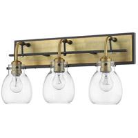 Z-Lite 466-3V-MB-OBR Kraken 3 Light 22 inch Matte Black and Olde Brass Vanity Light Wall Light