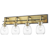 Z-Lite 466-4V-MB-OBR Kraken 4 Light 30 inch Matte Black and Olde Brass Vanity Wall Light