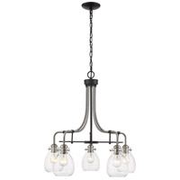 Z-Lite 466-5MB-BN Kraken 5 Light 25 inch Matte Black and Brushed Nickel Chandelier Ceiling Light
