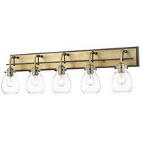Z-Lite 466-5V-MB-OBR Kraken 5 Light 38 inch Matte Black and Olde Brass Vanity Light Wall Light