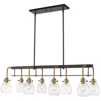 Z-Lite 466-8L-MB-OBR Kraken 8 Light 44 inch Matte Black and Olde Brass Island Light Ceiling Light