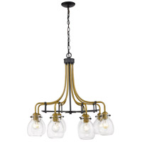 Z-Lite 466-8MB-OBR Kraken 8 Light 28 inch Matte Black and Olde Brass Chandelier Ceiling Light